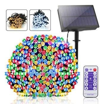 100LED / 200 الصمام الشمسية ضوء سلسلة ترقية لوحة للطاقة الشمسية مع بعيد حديقة شجرة عيد الميلاد خرافة مهرجان الإضاءة ديكورا 1