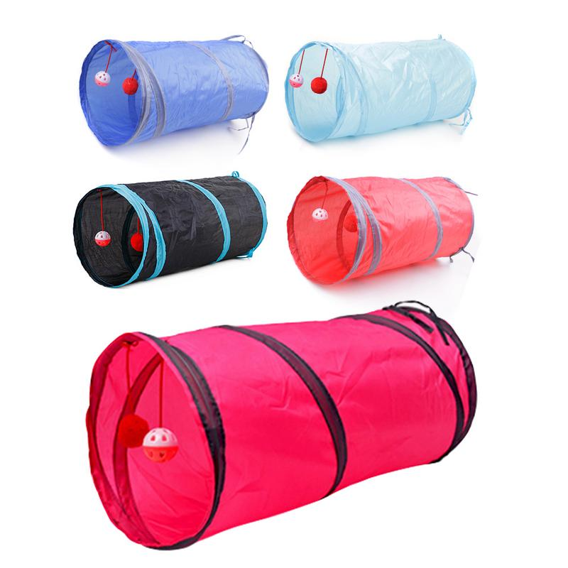 Image 5 - Hot 2/3/4/5 Holes 14 Colors Foldable Pet Cat Tunnel Indoor Outdoor Pet Cat Training Toy for Cat Rabbit Animal Play Tunnel Tube-in Cat Toys from Home & Garden