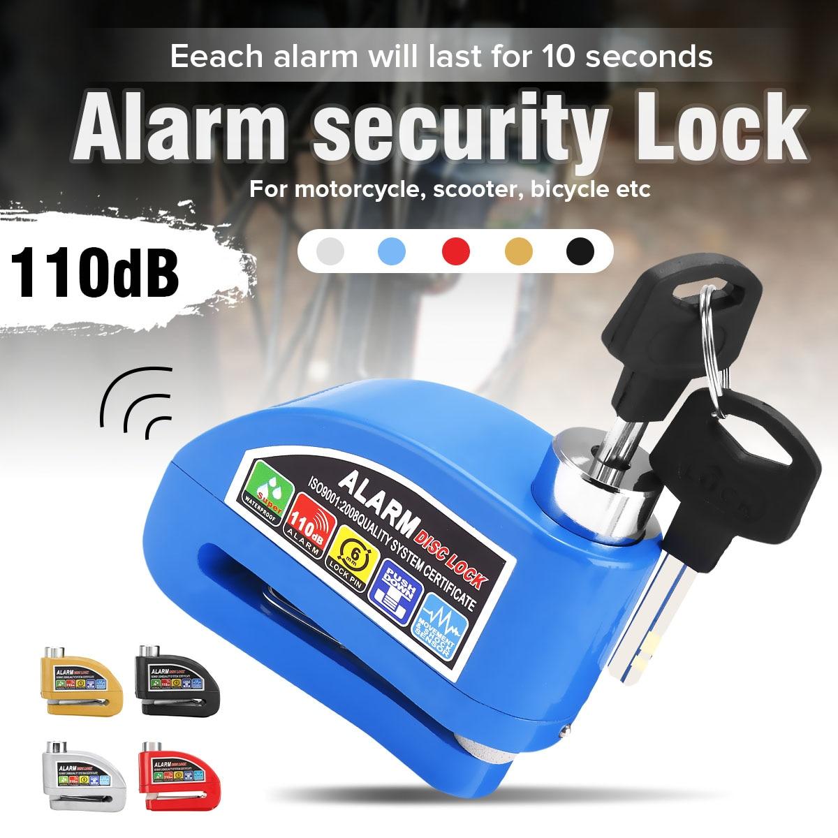 110dB Motorcycle Bike Scooter Security Anti-theft Wheel Disc Brake Lock Alarm Kit Waterproof +Reminder Cable + Alarm Lock Bag