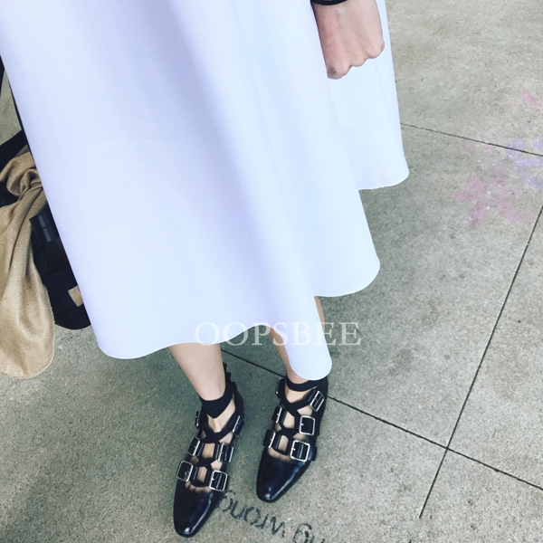 Sexy Mocassins D'été En Ballerines Croix Cuir Mujer Chaussures À Show Zapatos Lacets Pour Femme Orteil Femmes As Souple Boucles Carré Plats Lanières xxFEZWw4qf