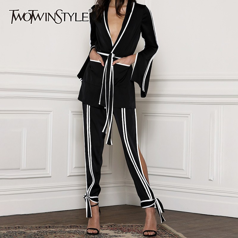 TWOTWINSTYLE Striped Women Suit V Neck Bandage Flare Sleeve Sexy Tops Split Lace Up Pants Two Piece Set Female 2019 Fashion New