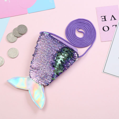 Купить с кэшбэком Kid Girl Colorful Change Sequin Mermaid Tail Shoulder Bags Zipper Coin Wallet Purse Pouch Card Holder Storage Clutch Bag Handbag