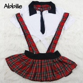 סקסי הלבשה תחתונה סט נשים ארוטית בתוספת גודל תחרה עד תלמיד קוספליי תלבושות תפקיד לשחק בבית ספר ילדה אדום משובצת חצאית תחתונים