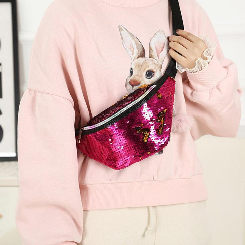 Dual Sequins Waist Bags Women Crossbody Phone Pouch Chest Belt Packs Women Fanny Packs Wallet Purse Fashion Colorful Waist Bags