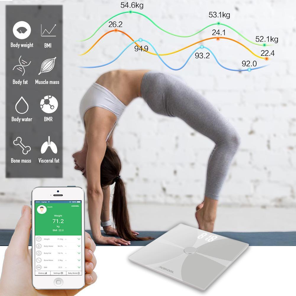 Adeeing Bluetooth Corpo Escala de Gordura Escala de Banheiro Digital Sem Fio Inteligente Grande Lcd Retroiluminado de Alta precisão Medições - 3