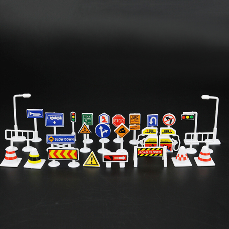 28pcs Set Traffic Signs Toy English Road Sign Traffic Signs Signage Kids Children Play Learn Toys Education Self-assembled Toys