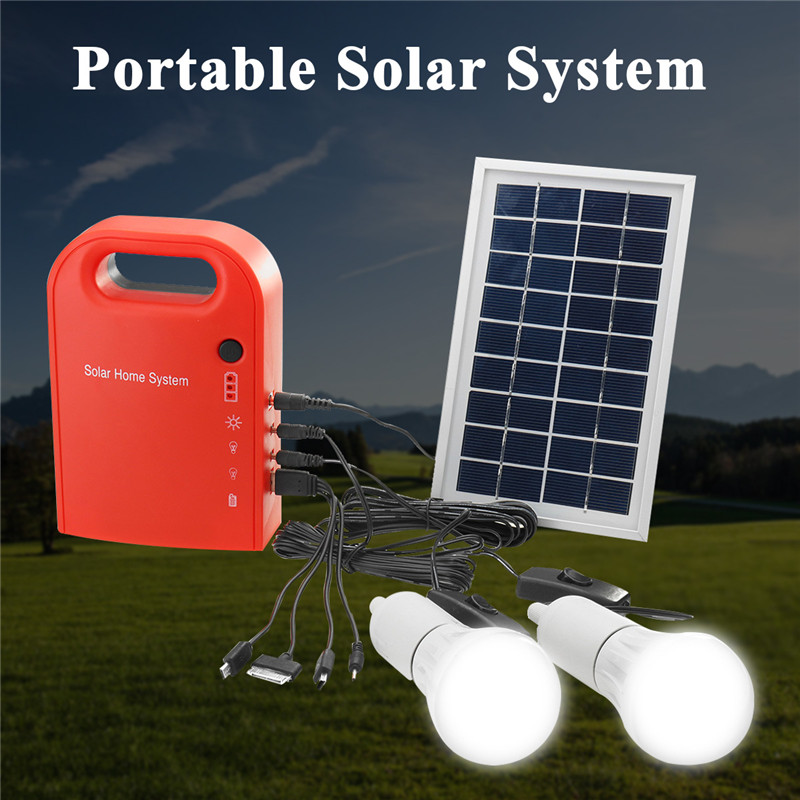 Portable 2 LED Lamp USB Cable Battery Charger Emergency Lighting System Portable Large Capacity Solar Power Bank Panel new solar panel 30000mah diy waterproof power bank 2 usb solar charger case external battery charger accessories