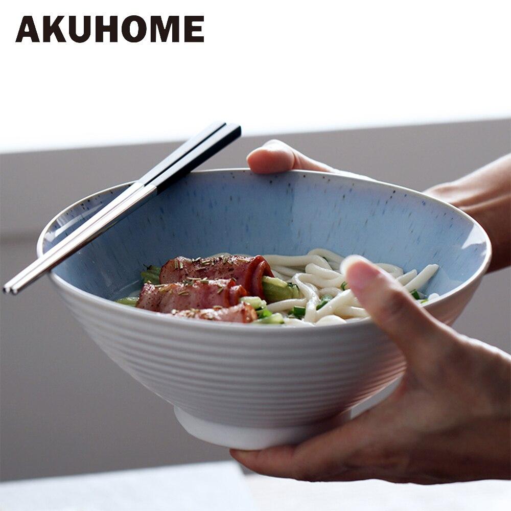 Ceramic Large Soup Bowl Breakfast Bowl Salad Noodles Home Bowl AKUHOME
