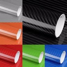 цена на For Car DIY Decoration 1pc 7D Carbon Fiber Vinyl Film Wrap Bubble Free Air Release Motor Sticker Decal 60CM*150CM 6Colors Mayitr