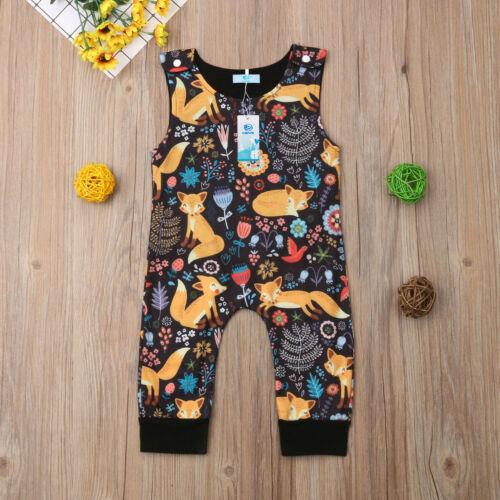 Детский комбинезон унисекс для новорожденных мальчиков и девочек с принтом лисы; комбинезон; летняя одежда; Лидер продаж