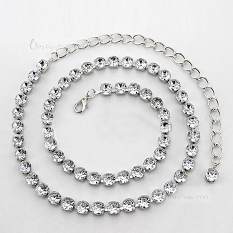 Rhinestone vientre cadena femenina del todo-fósforo de moda de una sola pieza del vestido de una mujer delgada cinturón alarga de las mujeres