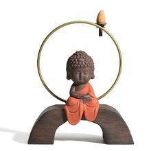Small Buddha Backflow Incense Burner Smoke Waterfall Holder Aromatherapy Censer Decorative Handicrafts