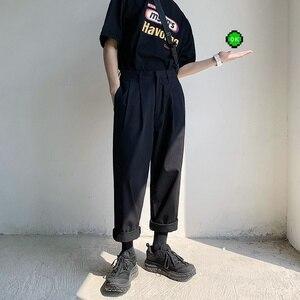 Image 2 - 2020男性のシンプルなレジャーメンズ綿ハーレムパンツルーズファッショントレンド黒色カジュアルパンツ男性のズボンプラスサイズm XL