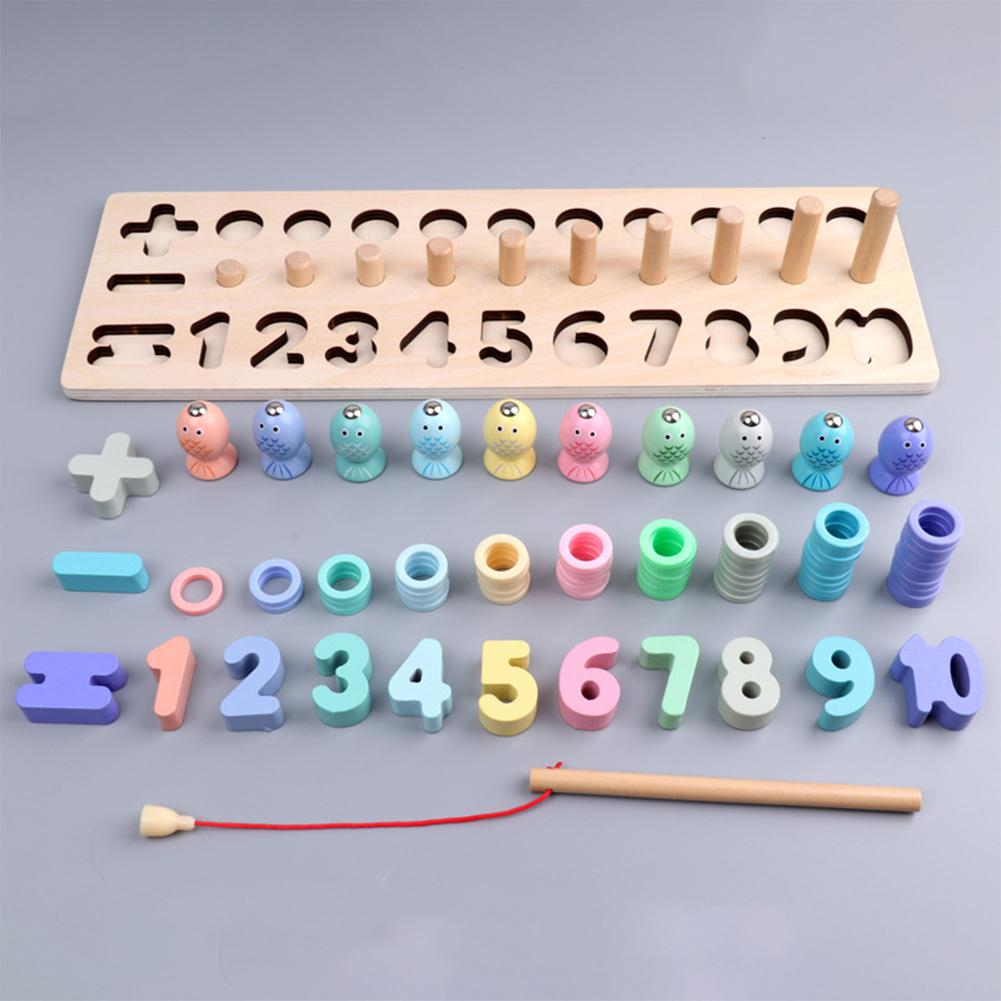 Wooden Toys Learning Count Numbers Digital Shape Match Early Education Toy in Math Toys from Toys Hobbies