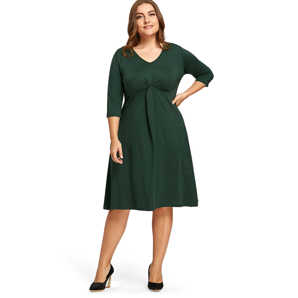 US $12.99 35% OFF|Women Plus Size Midi Dresses Jersey Knot Autumn 3/4  Length Sleeve V Neck Spring Dress Women Casual Work A Line Dress Women  Green-in ...