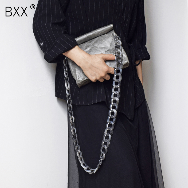 BXX 2019 Environmental Protection Vintage Waterproof Dupont Kraf Paper Pleated Single Acrylic Chain Messenger Bag LM859