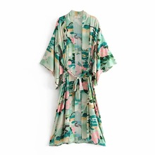 Green Floral Print Bird Women Jacket Cardigan Long Sleeve Loose Beach Maxi Kimono 2019 Spring Summer Female Boho Chic Tops все цены