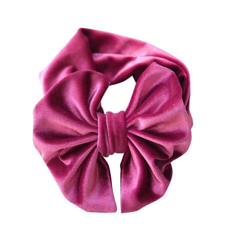 1 шт., вельветовый однотонный эластичный большой бант, ободок с бантом, Модный милый головной убор для малышей, 9 цветов