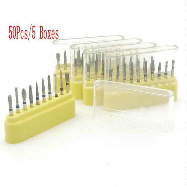 50pcs/5 Boxes Dental Diamond Burs Dental Professional burs Kit For Crown Bridge Preparation Posterior/Molar Teeth FG 1.6mm