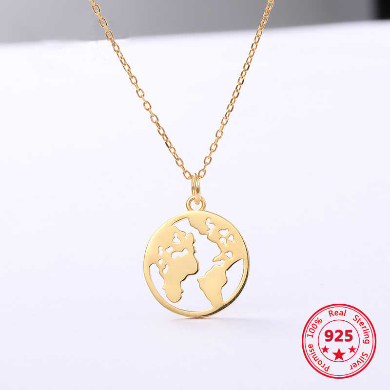 Korea New Style 925 Sterling Silver Necklace for Women Simple Fashion Chic Gold World Map Pendant Necklace Jewelry