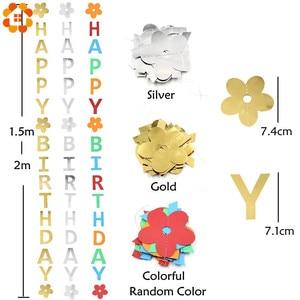 Image 5 - 1 takım DIY altın/gümüş/renkli kağıt mutlu doğum günü bayrakları Garland afişler mektup çelenk bebek çocuk doğum günü parti dekorasyon