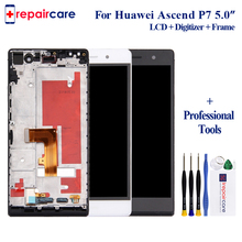 With Free Tools 5 inch 1920x1080 Display For HUAWEI P7 LCD Ascend P7 Touch Screen Digitizer Assembly With Frame original 5pcs for huawei ascend mate7 mate 7 lcd display touch screen digitizer high quality assembly frame with logo free dhl