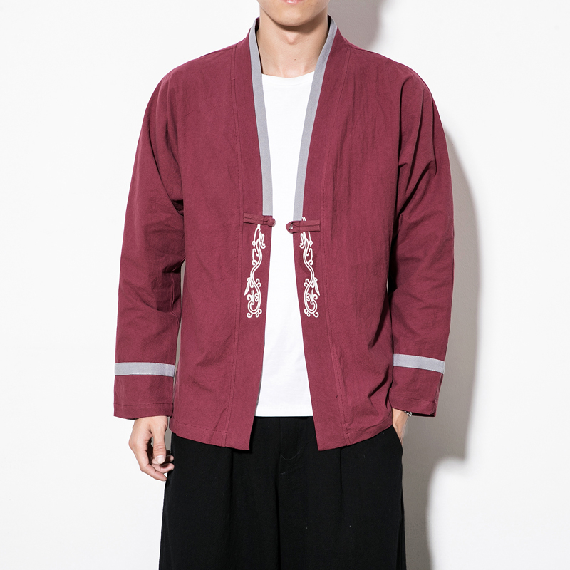 19 Spring Loose Coat Male I Embroidery Hanfu Jacket Men Pankou Japanese Style Streetwear Kaban Erkek Red Black Navy Cardigan
