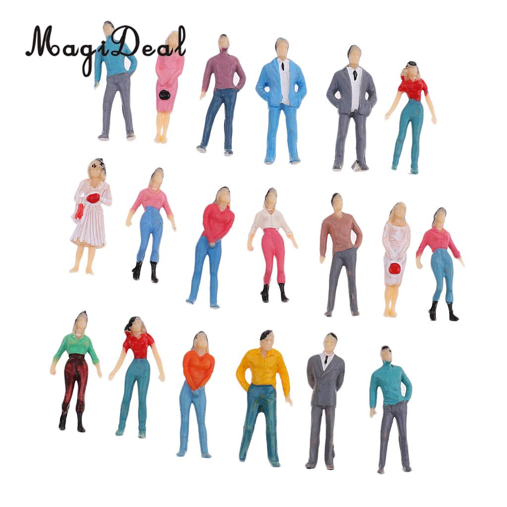 MagiDeal 1Set 1/50 Scale Train Railway Park Street Building Passenger People Figures Model HO Painted For Layout Landscape Scene