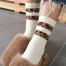 hot deal buy new fashion leopard striped cotton women socks autumn winter retro leopard print socks high grade vintage animal print socks