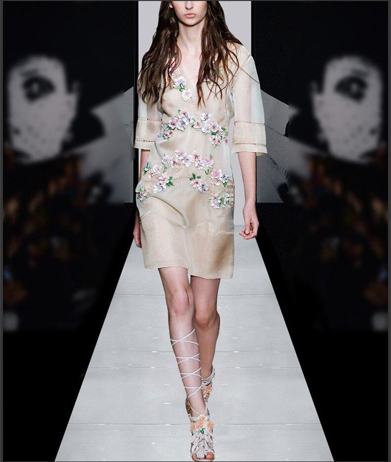 Vintage Partie Soie V 2018 Femmes 2 Robe D'été Ensemble Pièce Organza Vêtements cou Maxi Floral Robes vm8y0PnONw