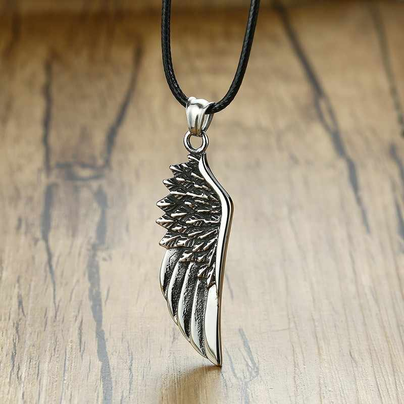 Vnox Mens Choker Vintage Gothic Feather Angel Wing Pendants Necklace  Silver Tone Stainless Steel Kettingen Kolye Male Jewelry
