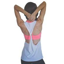 Sleeveless Vest Singlet Running Training Top 6 Color Female Sport T-shirt Dry Quick Loose Gym Fitness Yoga Clothes