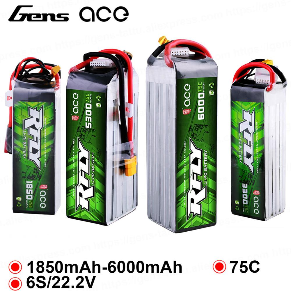 Gens ace RFly 1850mAh 3300mAh 5300mAh 6000mAh 6S 22.2V 75C Max 150C Lipo Battery with XT60 Deans Plug for Traxxas Boat Heli(China)