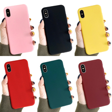 Ottwn Candy Color Phone Cases For iPhone 7 Case 8 Plus X XR XS Max Ultra-thin Back Cover 5 5s SE 6 6s Plus Soft Silicon цена и фото