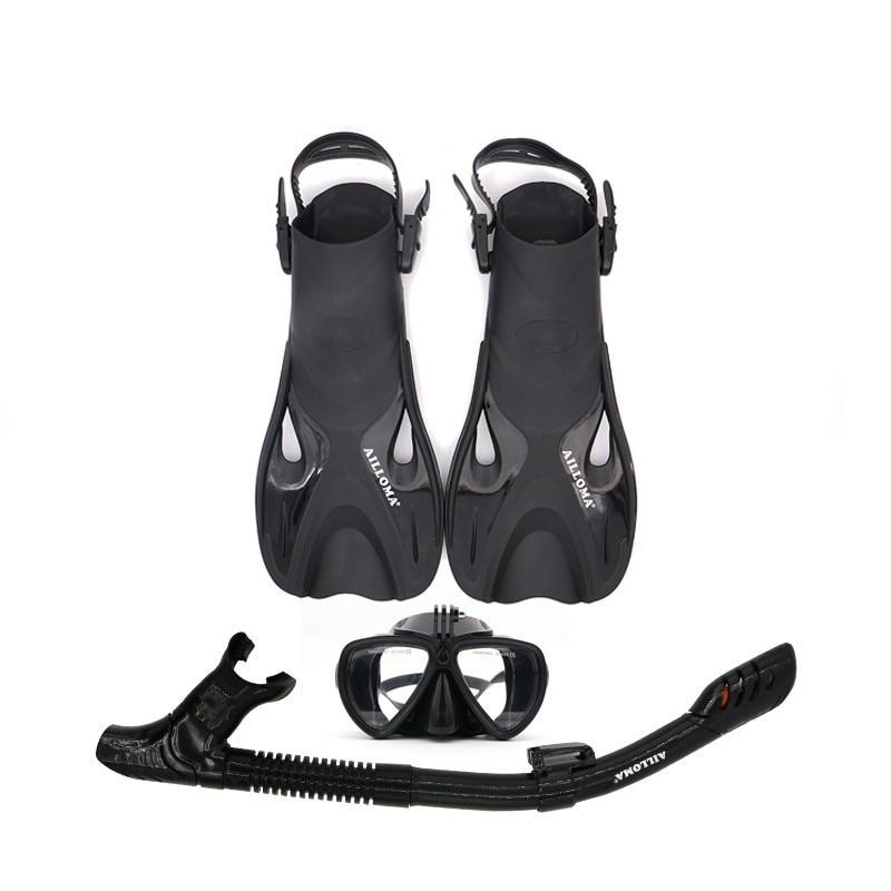 AILLOMA boucle réglable caméra masque de plongée tuba Set Tube complet sec plongée en apnée Anti-buée lunettes équipement de plongée ailerons