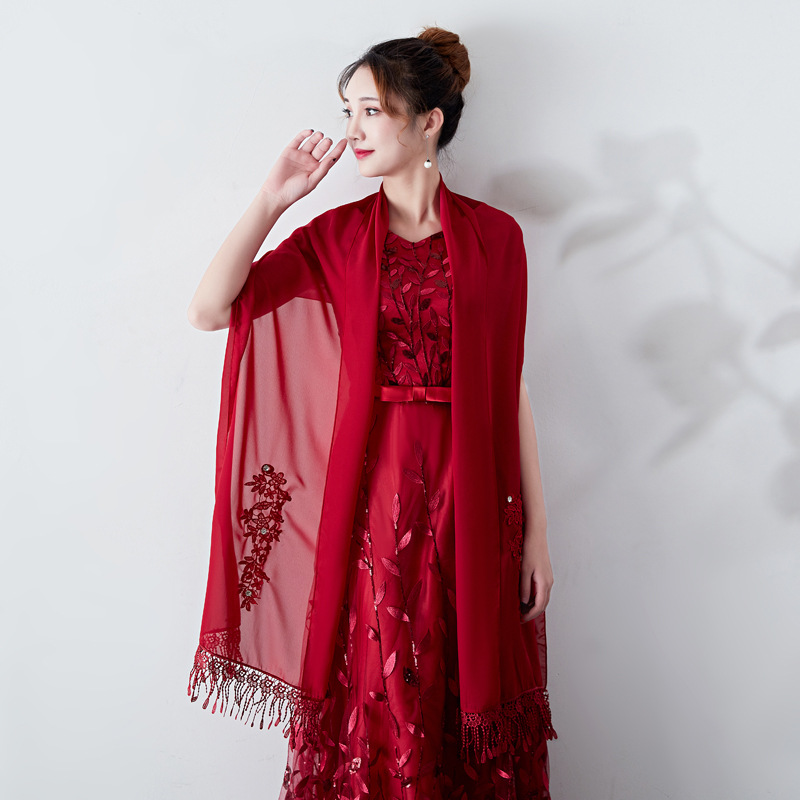 Dress shawl summer ceremonial chiffon embroidered cape sunshade multicolor shawl in Women 39 s Scarves from Apparel Accessories