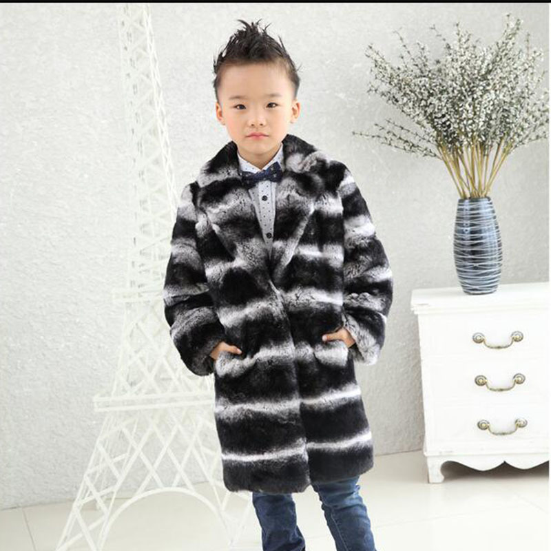 New Children Rex Rabbit Fur Coat Winter Warm Baby Kids Long Section Outerwear Coat Girls V-Neck Striped Full Colthing C#01 striped v neck jumpsuit