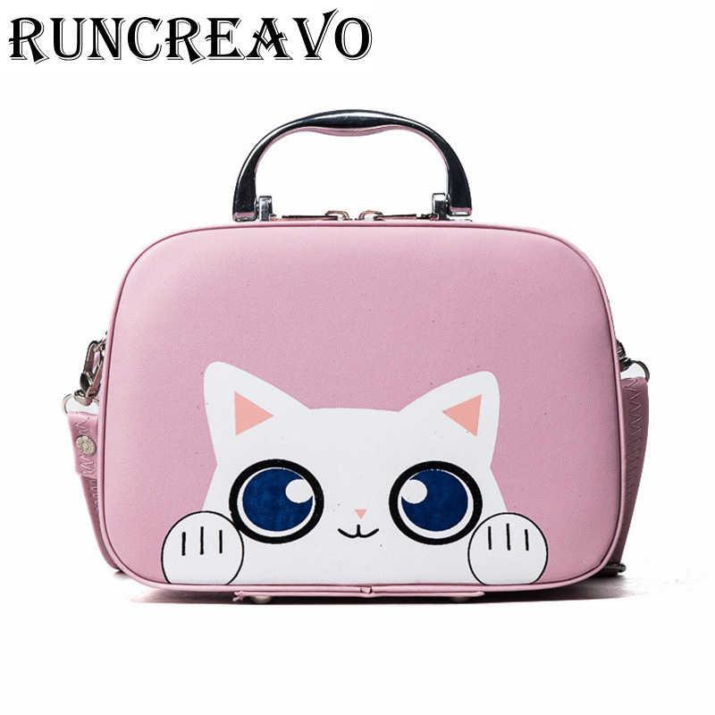 1a952acab0c7 Mini Handbags Women Luxury Messenger Bags Cute Cat Printed Female shoulder  bag Girls pu leather Handbag