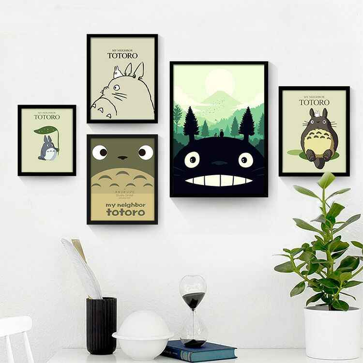 Miyazaki Hayao Children Animation Totoro Wall Art Canvas Posters and Prints Wall Pictures for Living Room Nordic Kids Room Decor