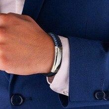 Персонализированные гравируемые мужские тонкие синие линии плетеный кожаный мужской браслет с регулируемой застежкой из нержавеющей стали