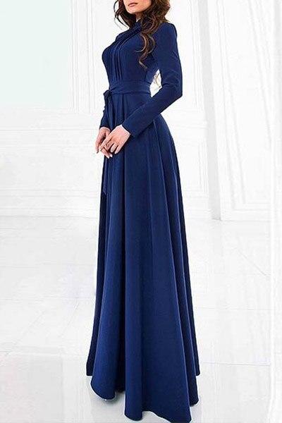 Rosegal стильный Стенд шеи с длинным рукавом сплошной цвет женщин макси платье на продажу