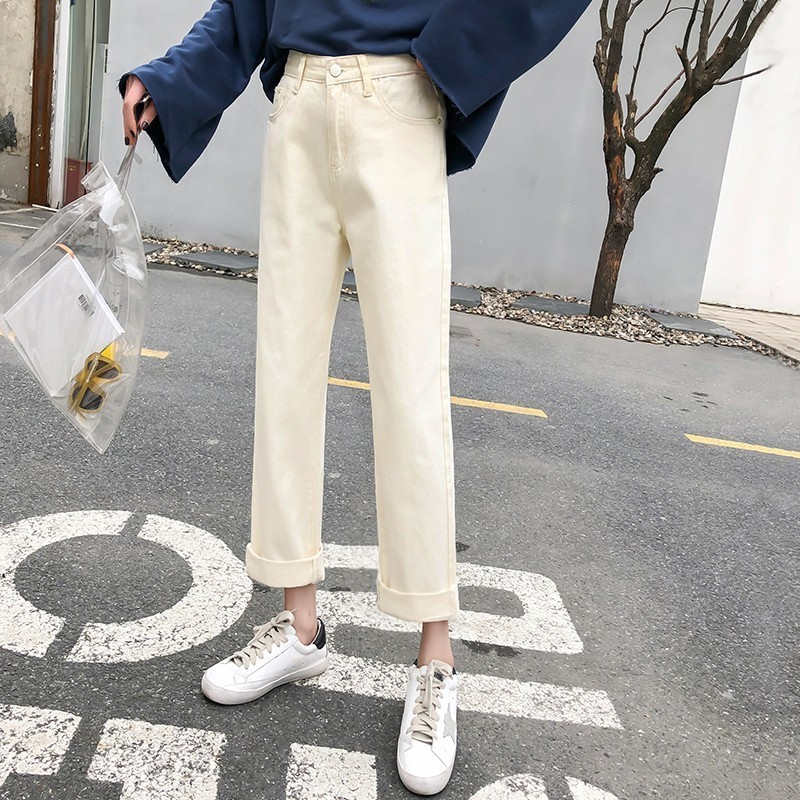 Spring Summer High Waist Fashion Boyfriend Jeans For Women Vintage Girls Slim Washed Denim Straight Pants in Jeans from Women 39 s Clothing