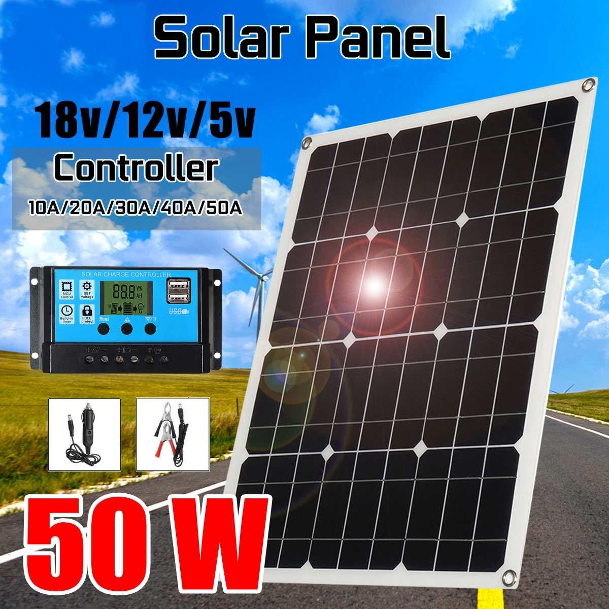 Solar Cells Charger 2USB Output Solar Panel Solar Cells Poly Solar Panel 10/20/30/40/50A Controller For Car Yacht 12V Battery