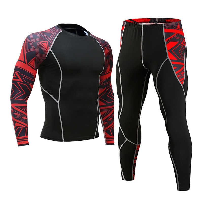 חורף תרמית תחתונים להגדיר גברים של ספורט ריצה אימון חם שכבת בסיס דחיסת גרביונים חליפת ריצה גברים של חדר כושר 2019