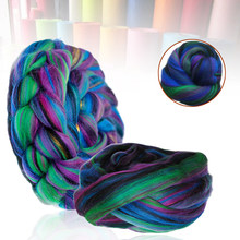 114g Multi-color Merino Wool Mulberry Silk Blend Combed Top Wool Roving for Needle Felted Wool Knitted Blanket 4 oz(China)