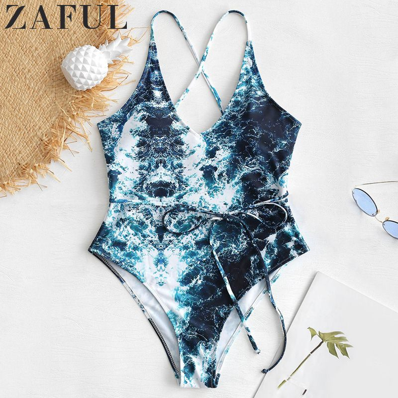 ZAFUL Women Sexy Swimwear Abstract Print Padded Wire Free Padded V Neck One Piece Swimsuit Beach Suit For Summer