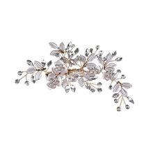 цены Flower Leaf Headwear 1pcs Jewelry Hair Pins Accessories Elegant Rhinestone Bridal Fashion Women Wedding Clips