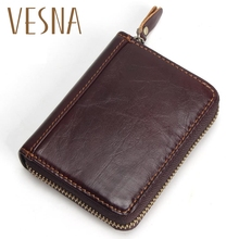 Vesna Made Of Cow Leather Unisex Card Holder Wallets High Quality Female Credit Holders Mens Coin Purse