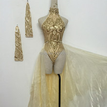 female singer sexy costumes bodysuit sequins Embroidery jumpsuit stage show for nightclub dj party prom jazz high quality dancer(China)
