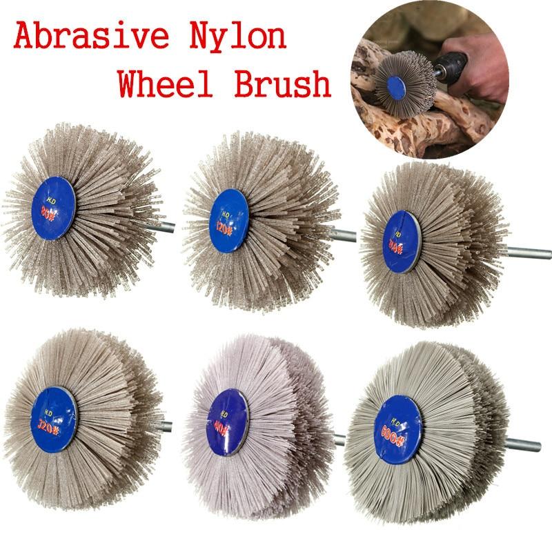 Abrasive Nylon Wheel Brush 80-600 Grit Wear-Resistant Wood Working Polishing Grindering Wheel Brush For Wood Metal Or Stone